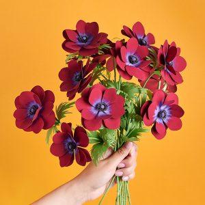 Anemone paper flower bouquet