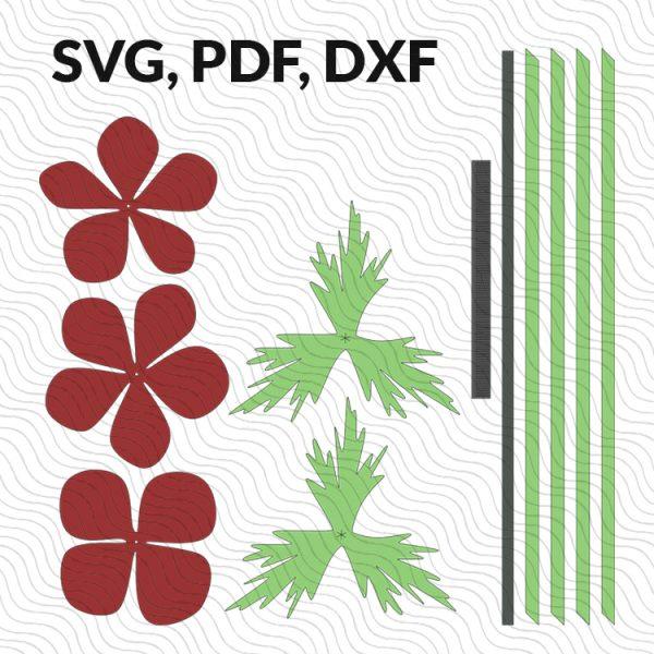 Anemone paper flower template SVG DXF PDF