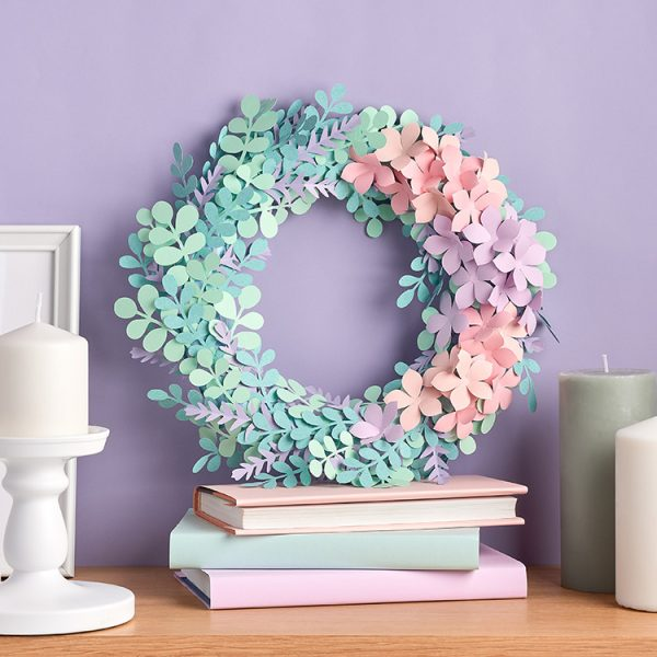 DIY eucalyptus paper flower wreath