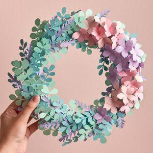 Eucalyptus hydrangea paper wreath