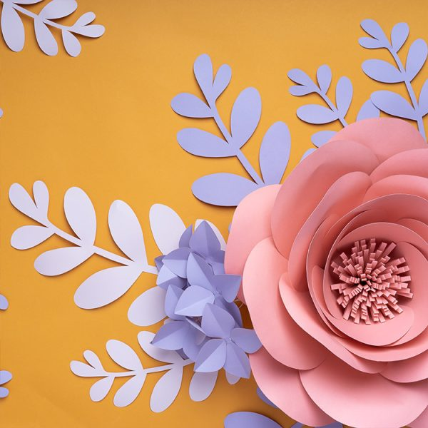Gian paper flowers with paper leaves