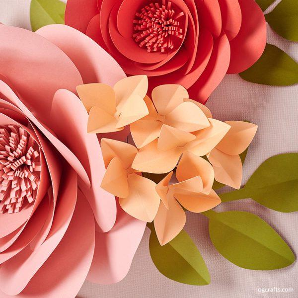 Giant paper hydrangea flowers