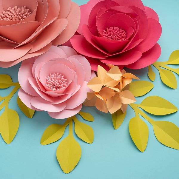 Large paper flowers with paper leaves