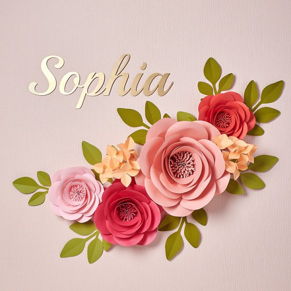Large paper flowers name nursery wall decor