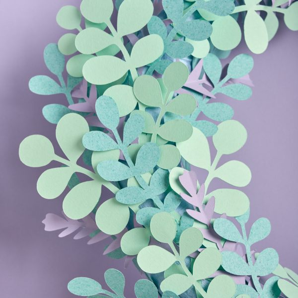paper eucalyptus leaves wreath
