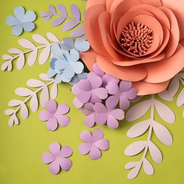 Paper flowers and leaves wall decor