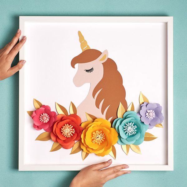 Paper flowers & unicorn framed paper art