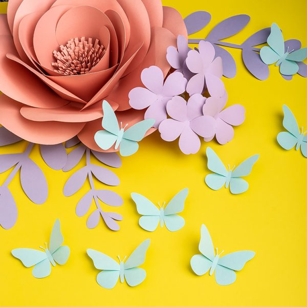 Paper flowers with paper butterflies