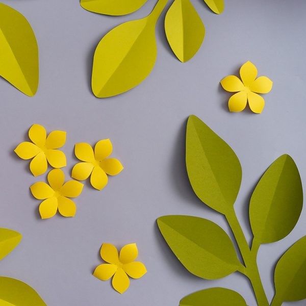 Paper leaves and small paper flowers