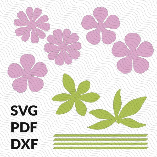 Paper peony flower templates SVG PDF DXF