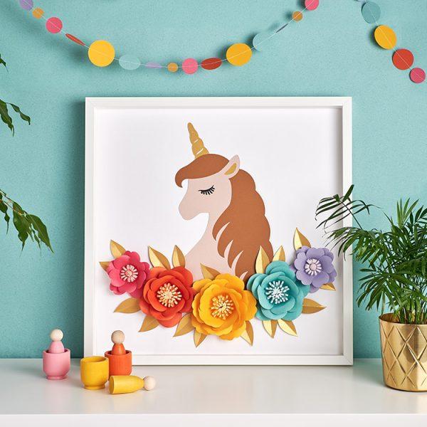 Paper cut unicorn & paper flowers nursery wall decor