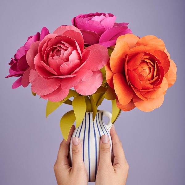 pink and orange peony paper flower bouquet