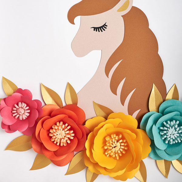 Rainbow paper flowers unicorn wall art