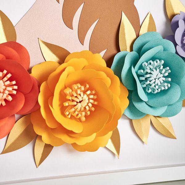 Rainbow paper flowers wall decor