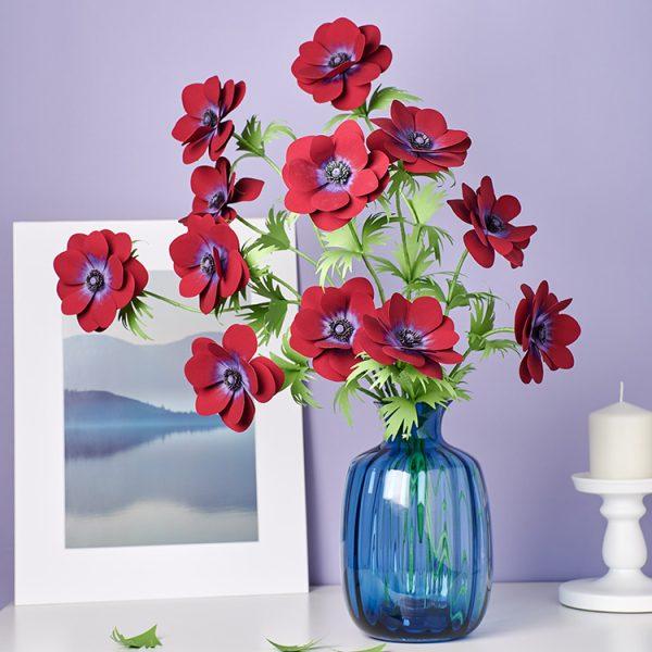 Red Anemone Paper Flower Bouquet