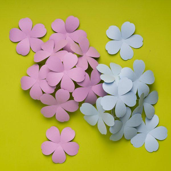 small paper flower bunch, paper hydrangea