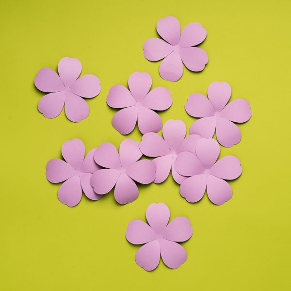 Small violet paper flowers