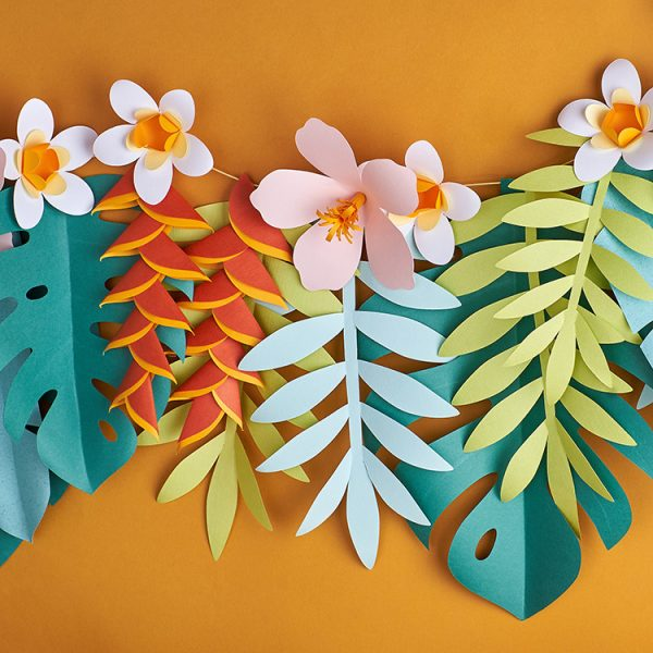 Tropical paper flowers and leaves garland