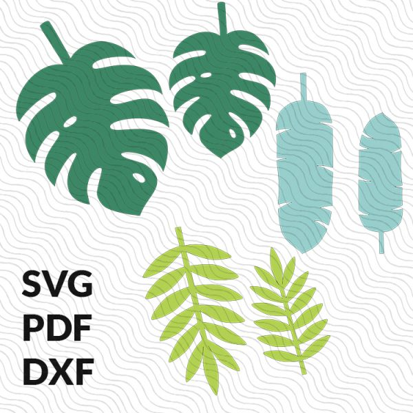 Tropical paper leaf templates