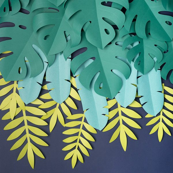 Tropical paper leaves backdrop