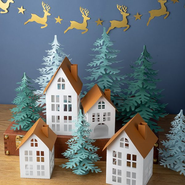 3D paper house Christmas tree