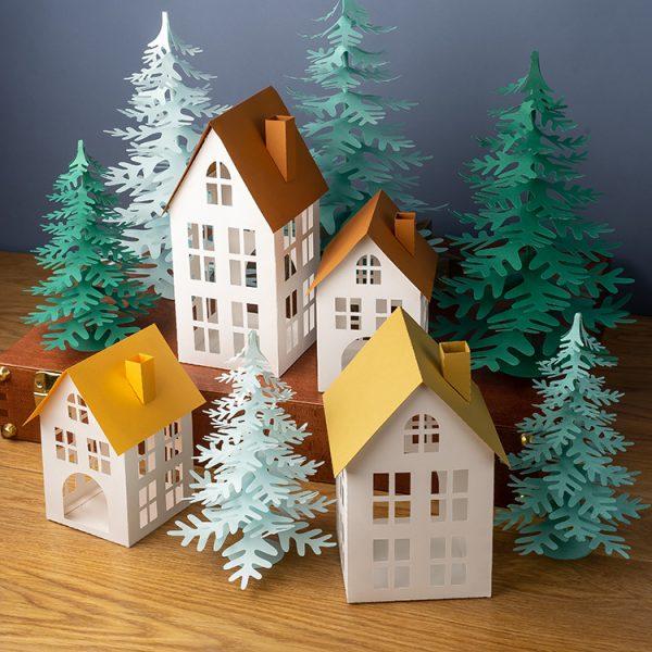 DIY 3D paper village