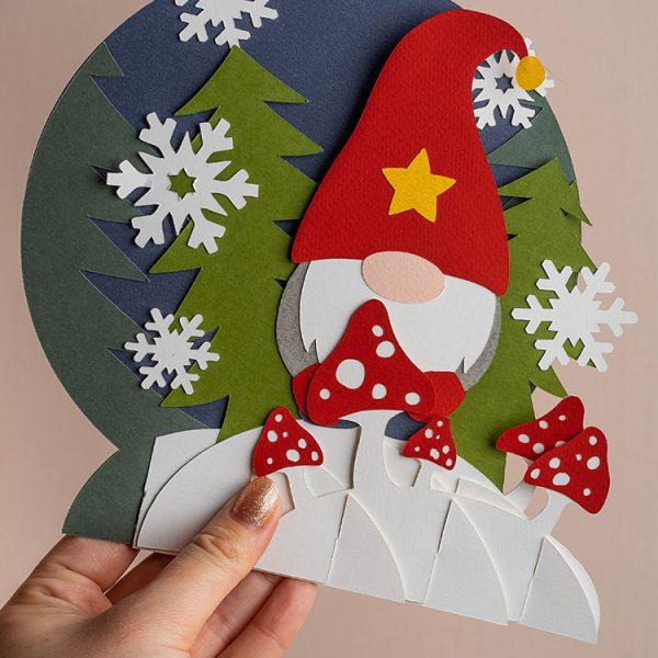 handmade christmas pop up card gnome