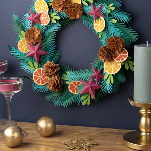 DIY paper wreath Christmas decor