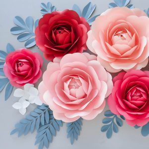 Giant paper peony flowers wall decor