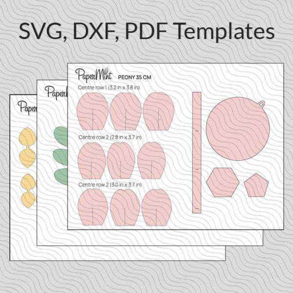 Paper peony flower templates