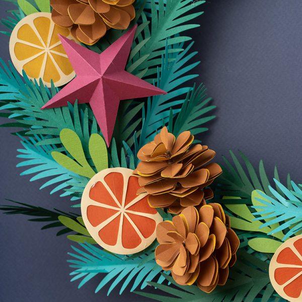 paper pine cone winter wreath