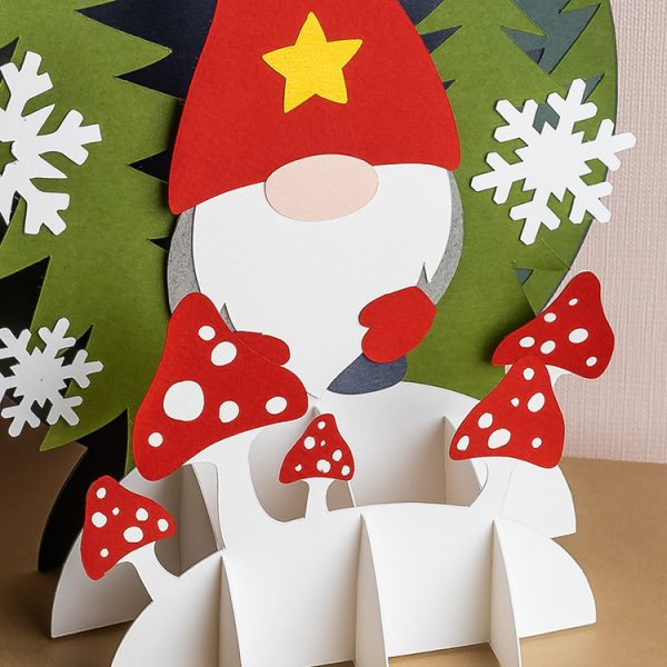 Paper winter gnome pop up card