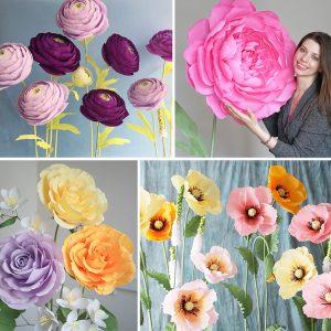 giant crepe paper flowers set