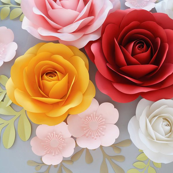 giant paper roses backdrop