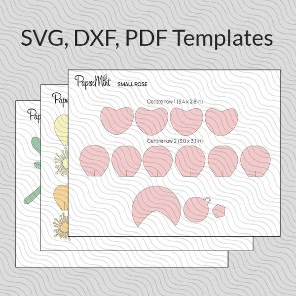 paper flower svg pdf dxf templates