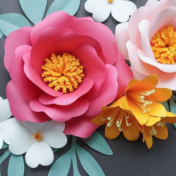 paper flowers garden roses set