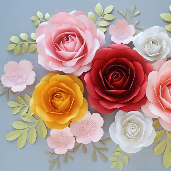 paper rose flowers wall decor