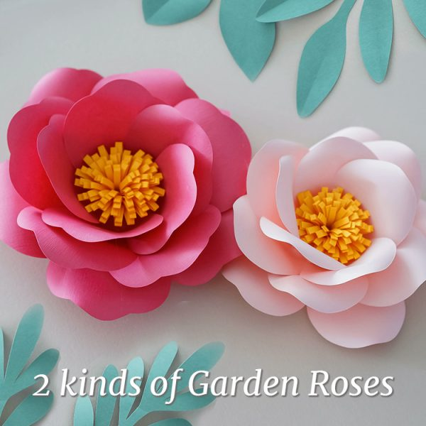 pink garden rose paper flowers