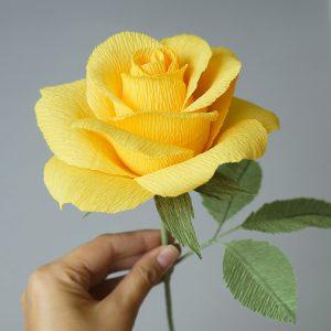 yellow rose crepe paper flower