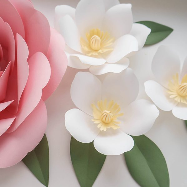 magnolia and peony diy paper flowers