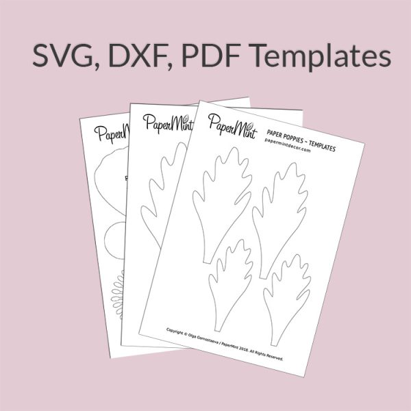 Paper flower and leaves templates SVG DXF PDF