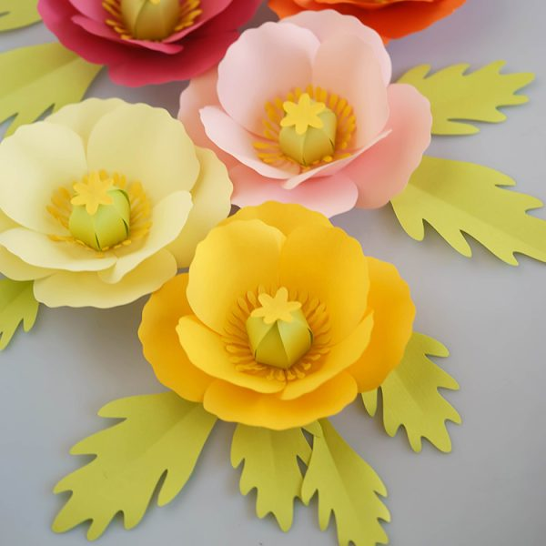 poppy paper flowers with paper leaves svg